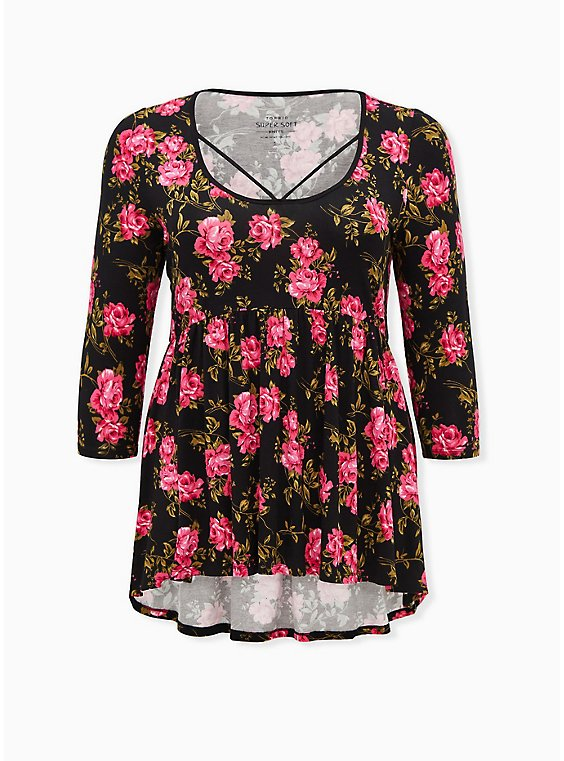 Breast Cancer Awareness - Super Soft Black Floral Strappy Babydoll Tee, , hi-res