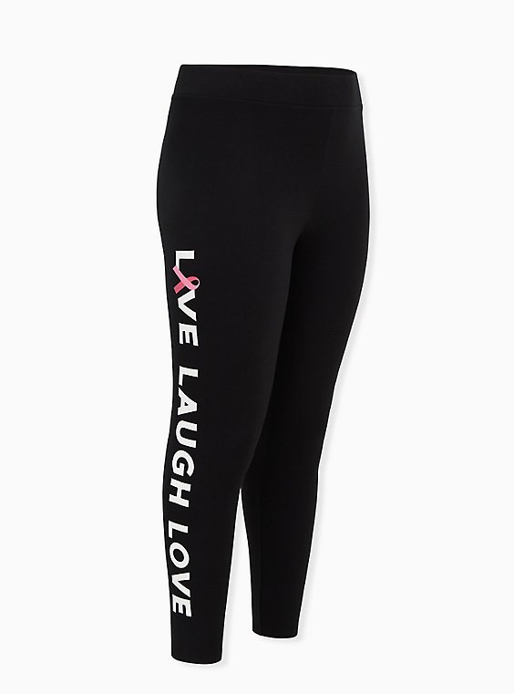 Breast Cancer Awareness - Live Laugh Love Fleece-Lined Legging Black, , hi-res