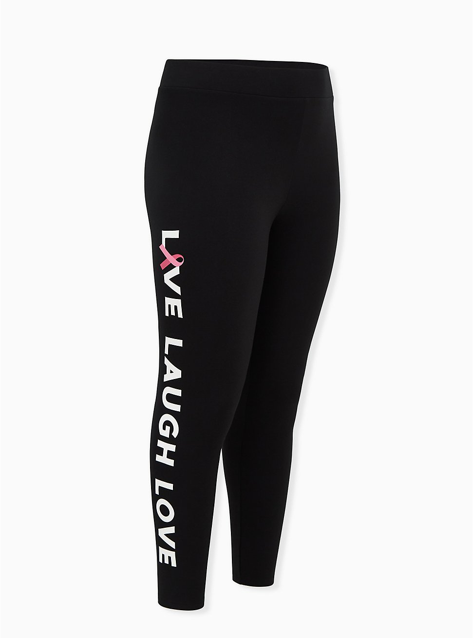Breast Cancer Awareness - Live Laugh Love Fleece-Lined Legging Black, BLACK, hi-res