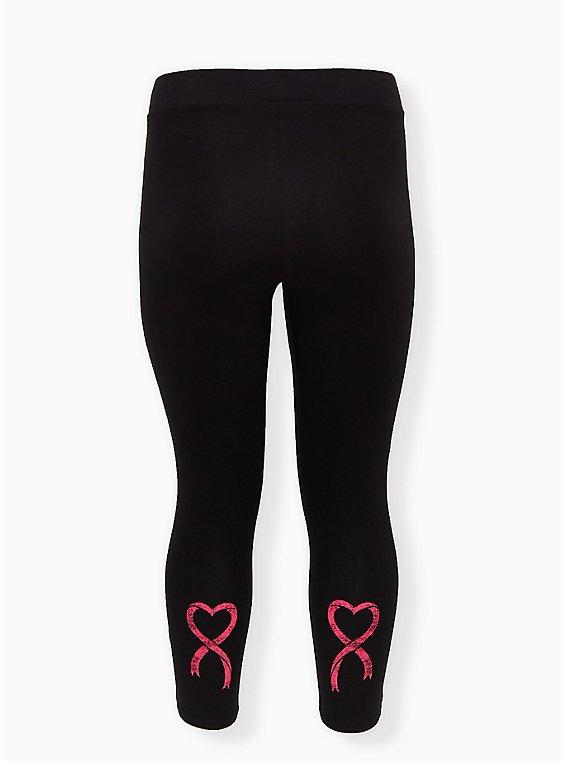 Breast Cancer Awareness - Heart Ribbon Black Crop Premium Legging, BLACK, hi-res