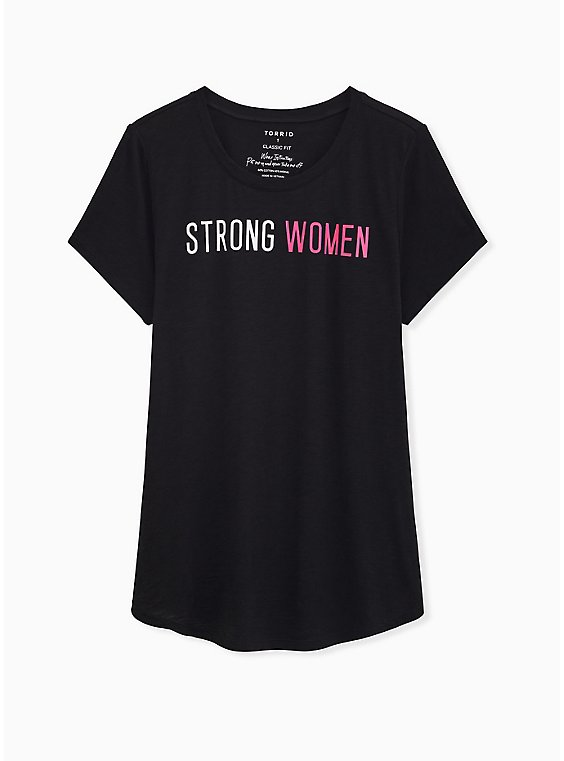 Breast Cancer Awareness - Strong Women Classic Fit Crew Neck Tee Heritage Slub Black, , hi-res