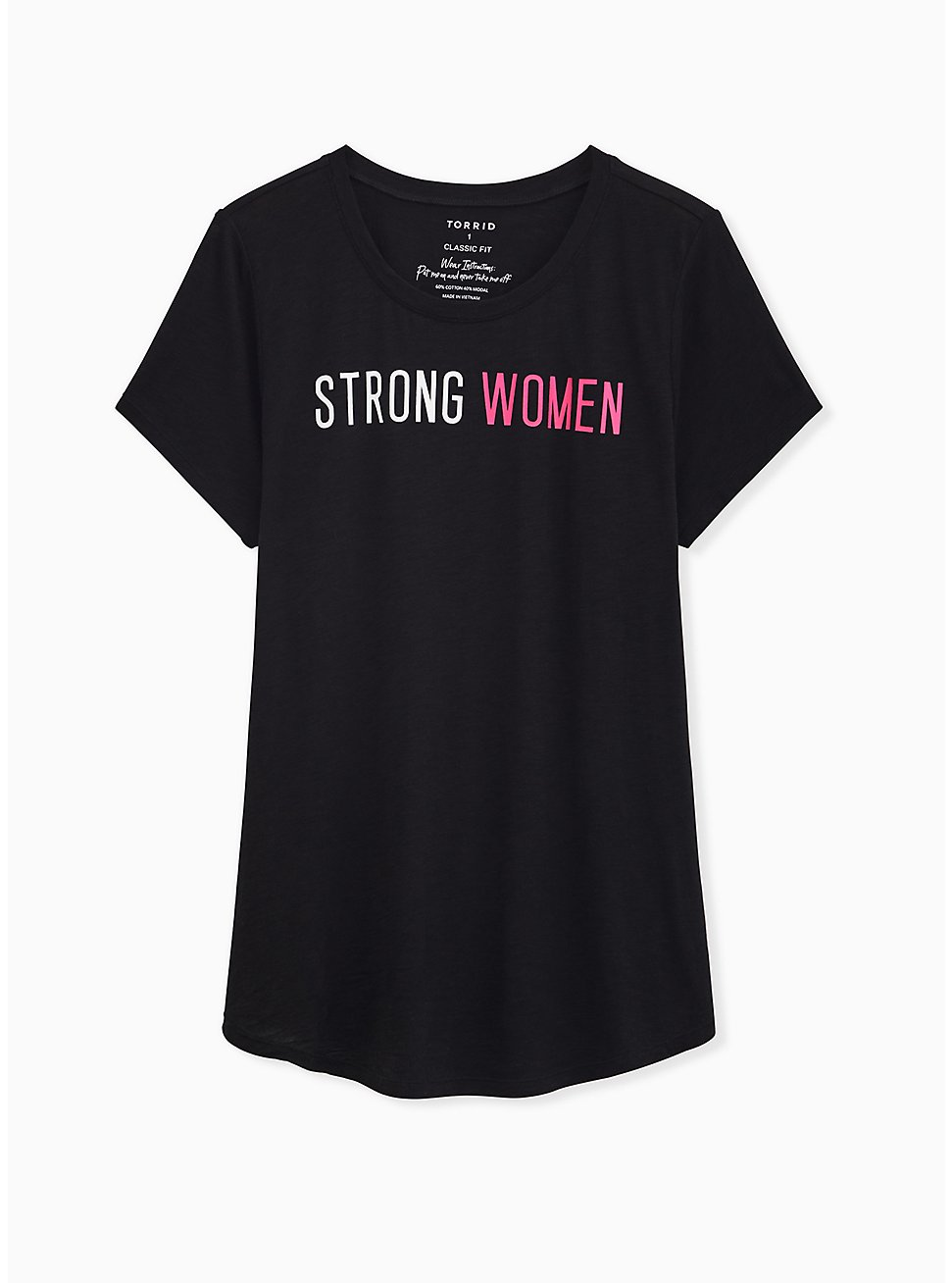 Breast Cancer Awareness - Strong Women Classic Fit Crew Neck Tee Heritage Slub Black, DEEP BLACK, hi-res