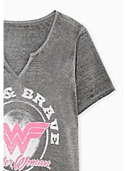 Breast Cancer Awareness - Wonder Woman Free & Brave Grey Triblend Top, MEDIUM HEATHER GREY, alternate