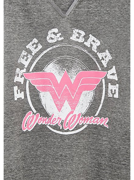 Breast Cancer Awareness - Wonder Woman Free & Brave Grey Triblend Top, MEDIUM HEATHER GREY, alternate