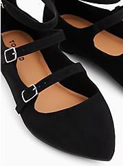 Black Faux Suede Triple Strap Pointed Toe Flat (WW), BLACK, alternate