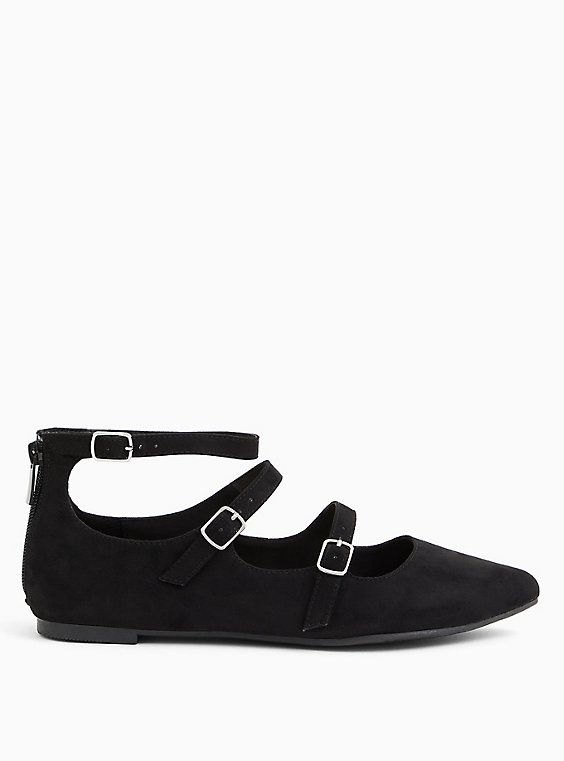 Black Faux Suede Triple Strap Pointed Toe Flat (WW), BLACK, hi-res