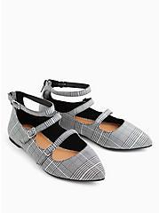 Black Plaid Triple Strap Pointed Toe Flat (WW), BLACK  WHITE, alternate