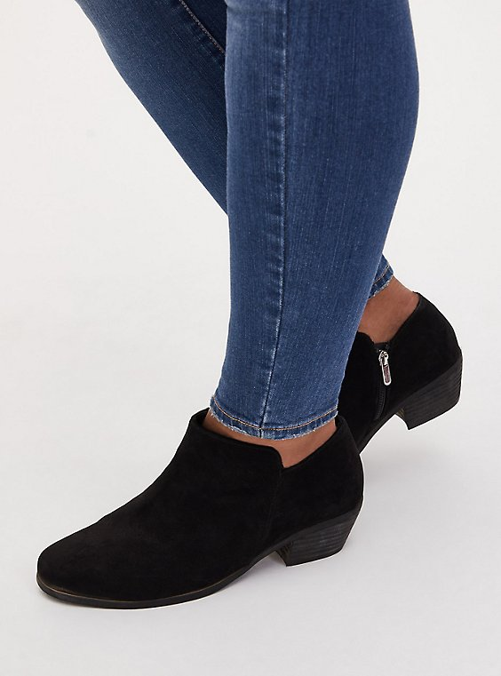 Black Faux Suede Ankle Boot (WW), BLACK, hi-res