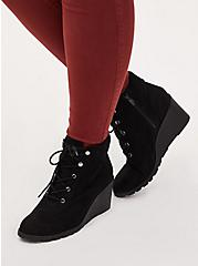Black Faux Suede Sweater-Trimmed Wedge Bootie (WW), BLACK, hi-res