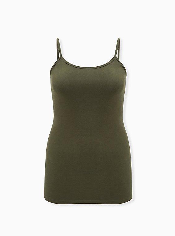 Olive Green Scoop Neck Tunic Foxy Cami, DEEP DEPTHS, ls