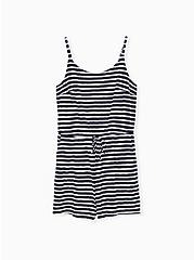 Navy & White Stripe Slub Jersey Drawstring Romper, STRIPE - BLUE, hi-res