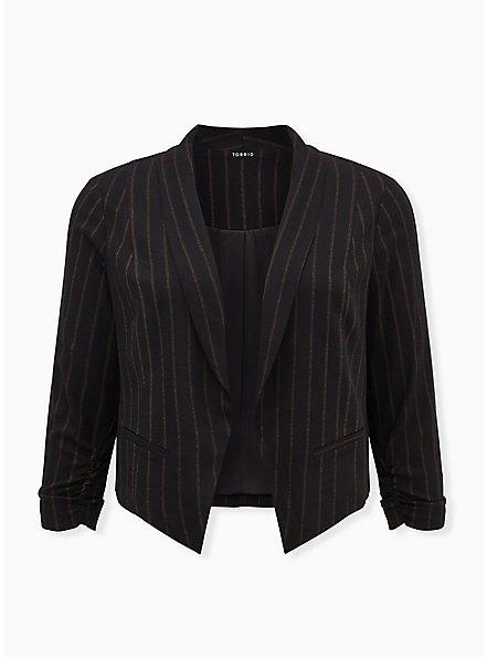 Black Stripe Twill Cutaway Blazer, DEEP BLACK, hi-res