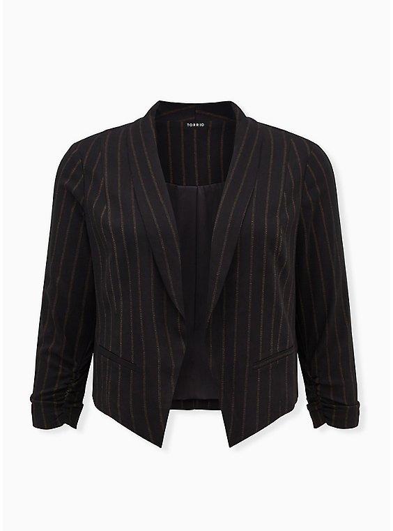 Black Stripe Twill Cutaway Blazer, , flat