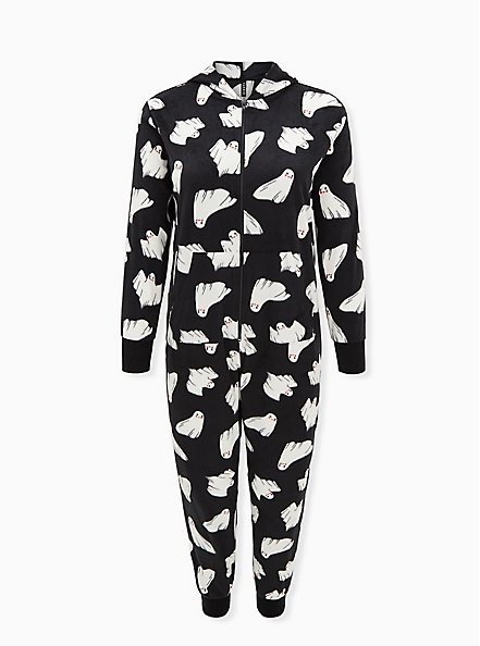 Black & White Ghost Fleece Onesie, MULTI, hi-res