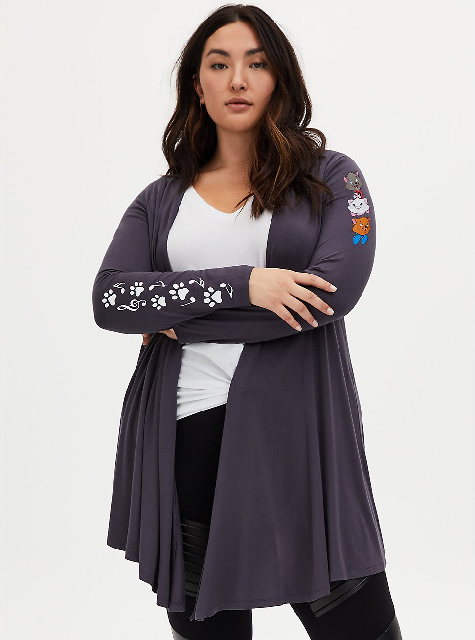 Plus Size Disney The Aristocats Characters Super Soft Fit & Flare Cardigan, GREY, hi-res