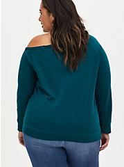 Plus Size Disney The Aristocats Logo Off-Shoulder Graphic Sweatshirt, TEAL, alternate