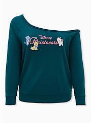 Plus Size Disney The Aristocats Logo Off-Shoulder Graphic Sweatshirt, TEAL, hi-res