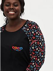 Disney Coco Black 3/4 Sleeve Raglan Top, BLACK, alternate