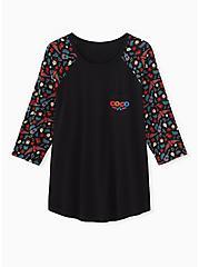 Disney Coco Black 3/4 Sleeve Raglan Top, BLACK, hi-res