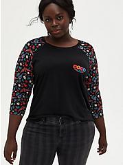 Disney Coco Black Raglan Top, BLACK, hi-res