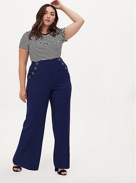 Plus Size High Waist Sailor Pant - Navy, NAVY, alternate