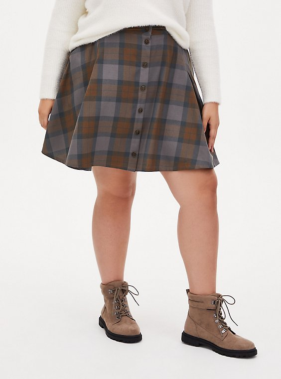Outlander Tartan Plaid Twill Woven Mini Skater Skirt, MULTI, hi-res