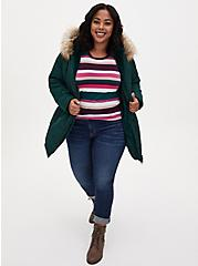Plus Size Dark Green Twill Fit & Flare Puffer Jacket , PINE GROVE, alternate