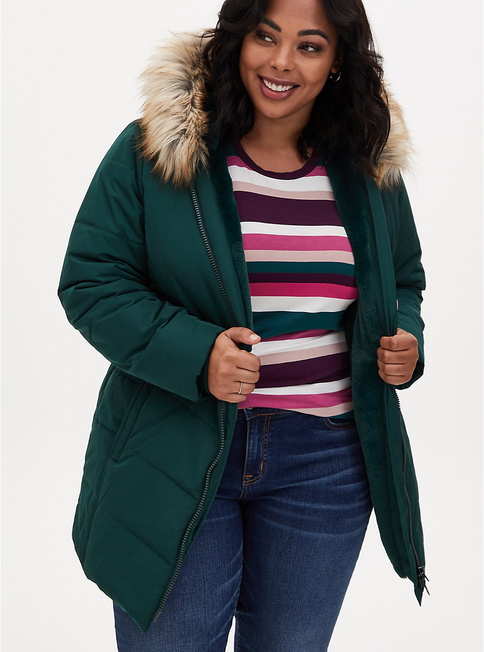 Plus Size Dark Green Twill Fit & Flare Puffer Jacket , PINE GROVE, hi-res