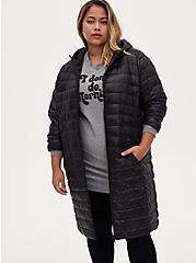 Black Nylon Longline Puffer Jacket , DEEP BLACK, alternate