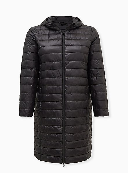 Black Nylon Longline Puffer Jacket , DEEP BLACK, hi-res