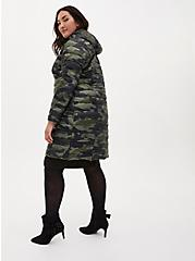 Camo Nylon Longline Puffer Jacket, CAMO, alternate