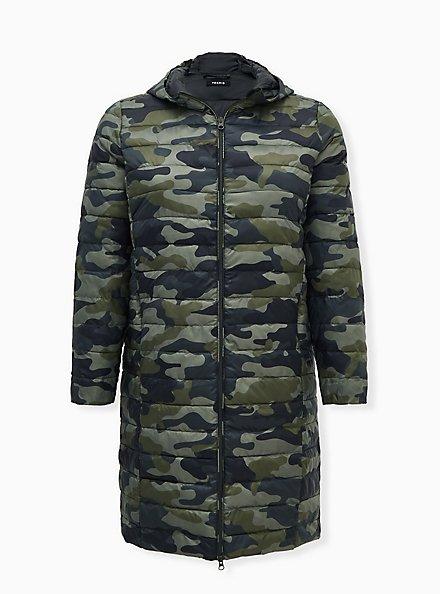 Camo Nylon Longline Puffer Jacket, CAMO, hi-res
