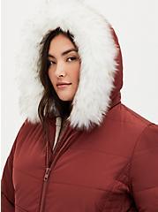 Brick Red Twill Fit & Flare Maxi Puffer Coat , MADDER BROWN, alternate