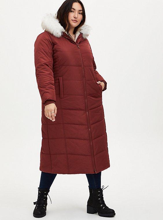 Brick Red Twill Fit & Flare Maxi Puffer Coat , , hi-res