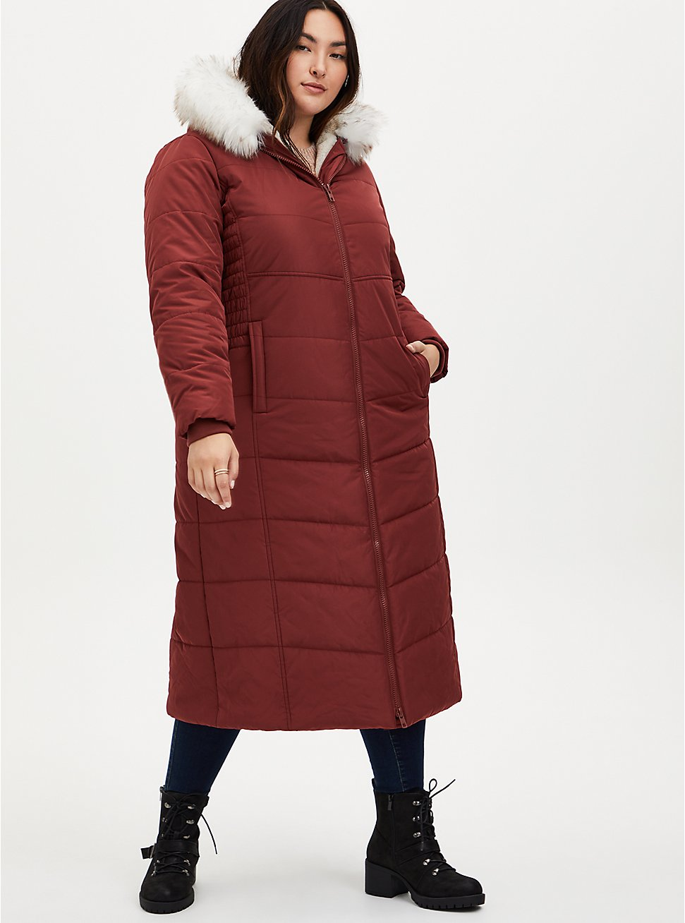 Brick Red Twill Fit & Flare Maxi Puffer Coat , MADDER BROWN, hi-res