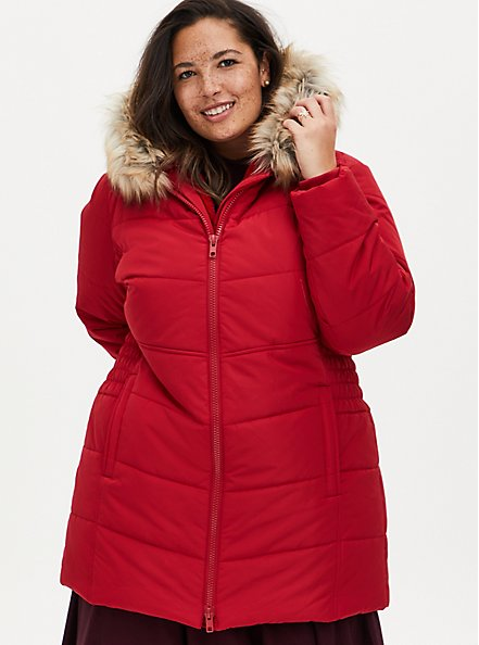 Red Twill Fit & Flare Puffer Jacket