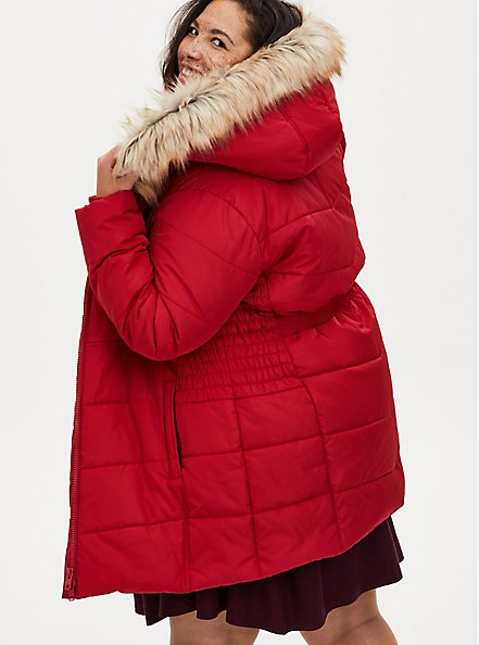 Red Twill Fit & Flare Puffer Jacket , JETSETTER BORDER, alternate