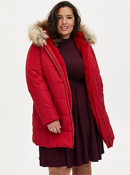 Red Twill Fit & Flare Puffer Jacket , JETSETTER BORDER, hi-res