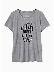 Witch Don't Kill My Vibe Slim Fit Crew Tee - Triblend Jersey Grey , DEEP BLACK, hi-res