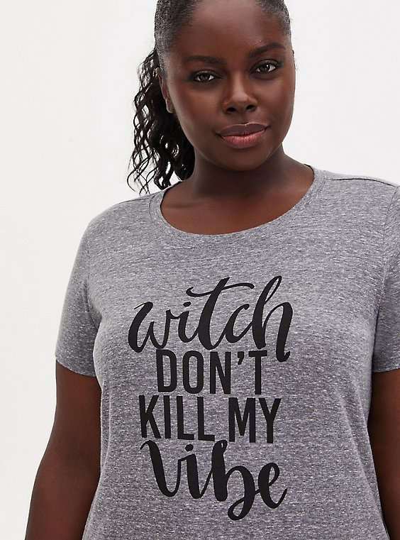 Witch Don't Kill My Vibe Slim Fit Crew Tee - Triblend Jersey Grey , , hi-res