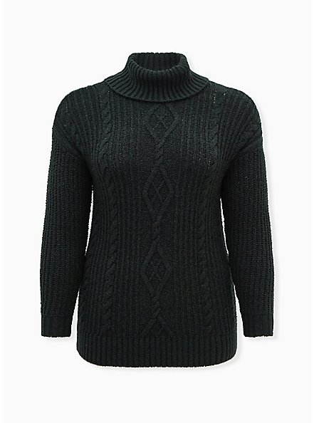 Outlander Chunky Cable Knit Turtleneck Pullover Sweater, GREY, hi-res