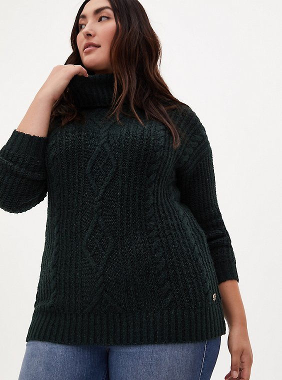 Outlander Chunky Cable Knit Turtleneck Pullover Sweater, , hi-res