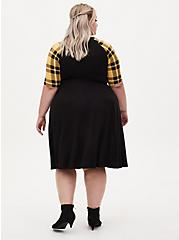 Harry Potter Hufflepuff House Yellow Plaid Raglan Mini Skater Dress, BLACK, alternate