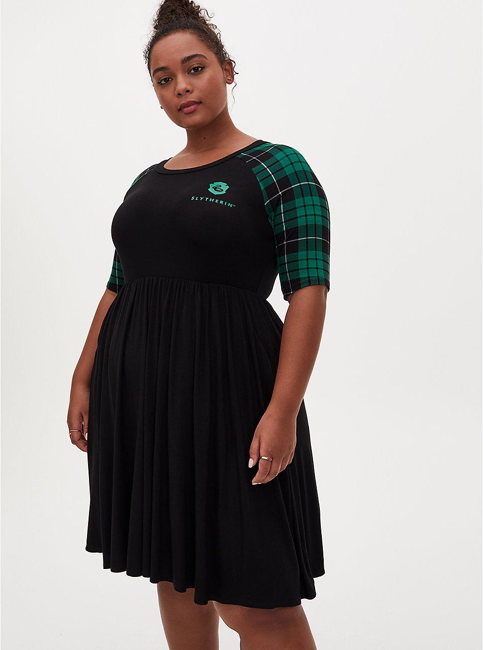 Harry Potter Slytherin House Green Plaid Raglan Mini Skater Dress, BLACK, hi-res