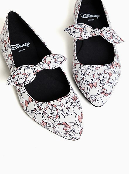 Disney The Aristocat Marie Pointed Toe Mary Jane Flat (WW), WHITE, hi-res