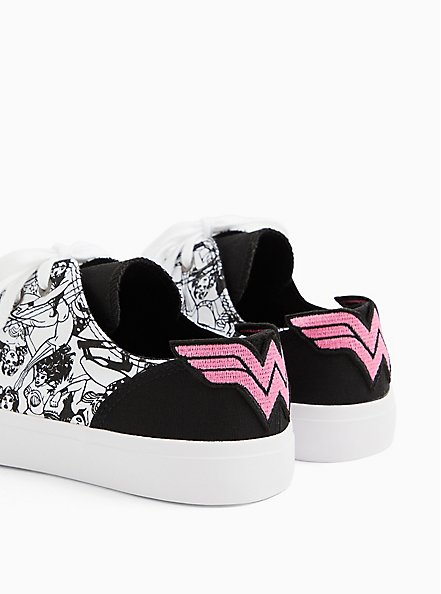 Breast Cancer Awareness - Wonder Woman Canvas Lace-Up Sneaker (WW), WHITE, alternate