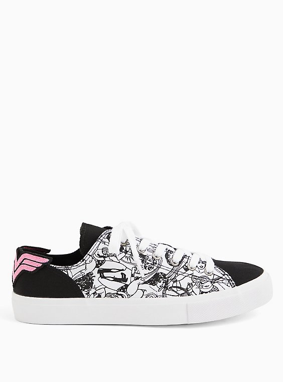 Breast Cancer Awareness - Wonder Woman Canvas Lace-Up Sneaker, WHITE, hi-res