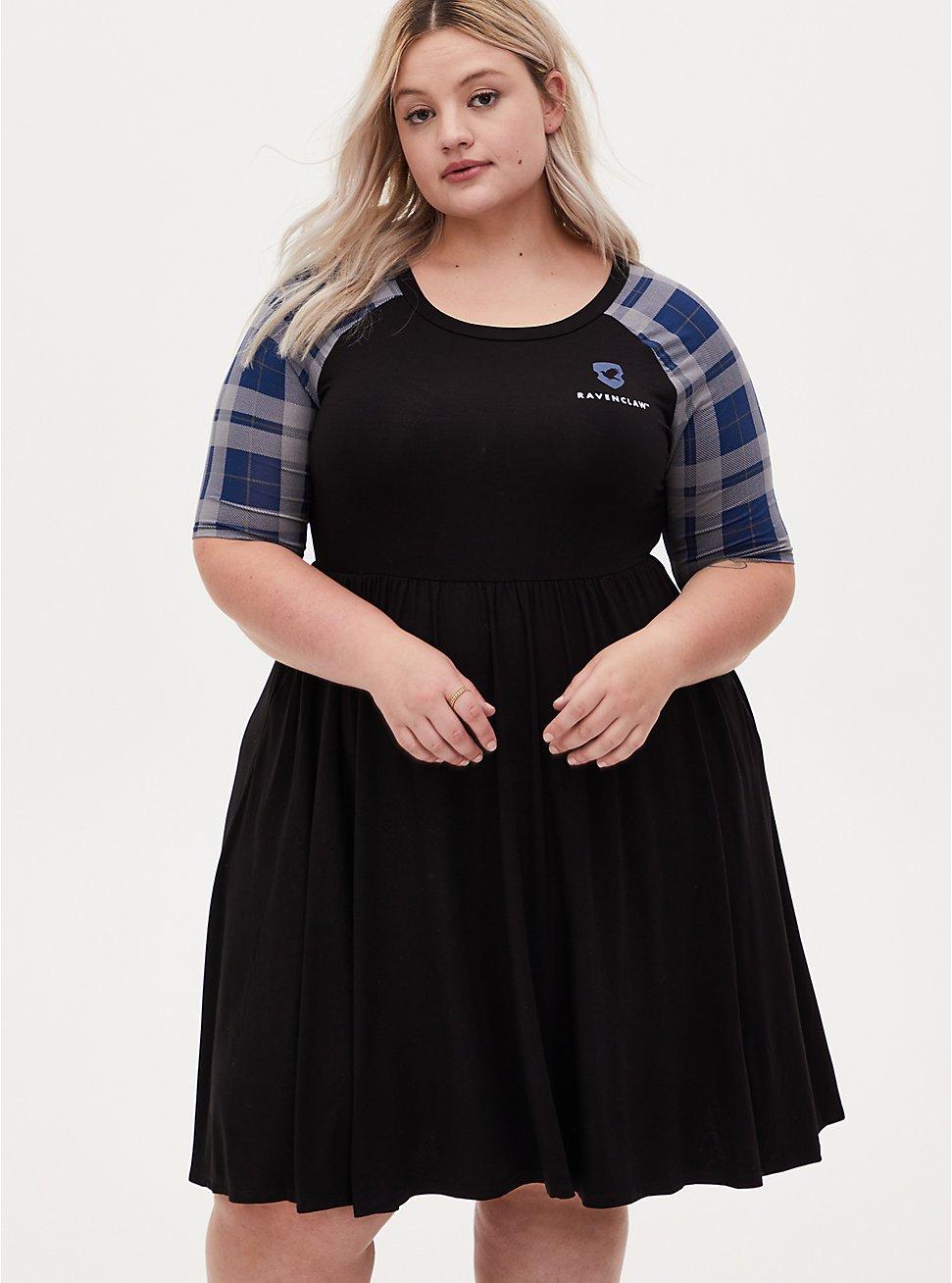 Harry Potter Ravenclaw House Blue Plaid Raglan Mini Skater Dress, BLACK, hi-res