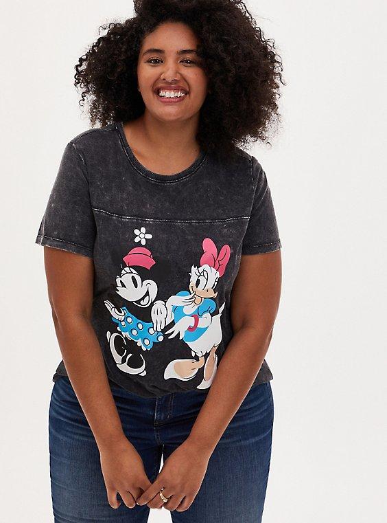 Disney Minnie Mouse & Daisy Duck Mineral Wash Black Top, DEEP BLACK, hi-res