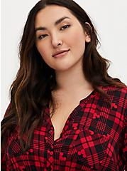 Disney Mickey Mouse Red & Black Plaid Button Front Shirt Dress, MULTI, alternate